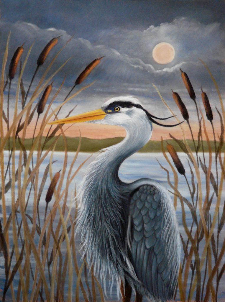 Heron pastel