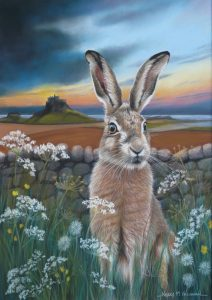 Hare at Lindisfarne painting