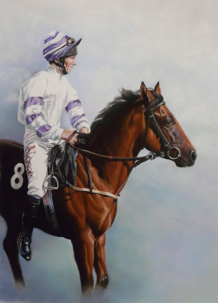 pastel racehorse and rider