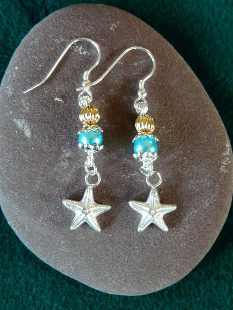 starfish and beads drop ear ring