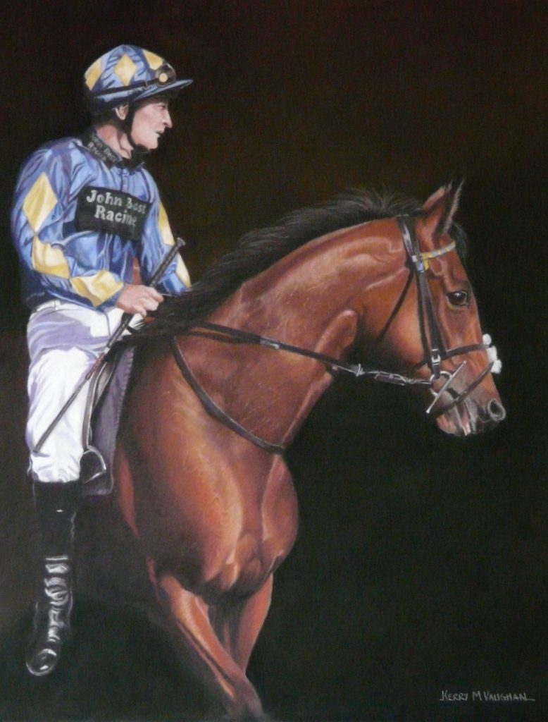 racehorse and rider portrait
